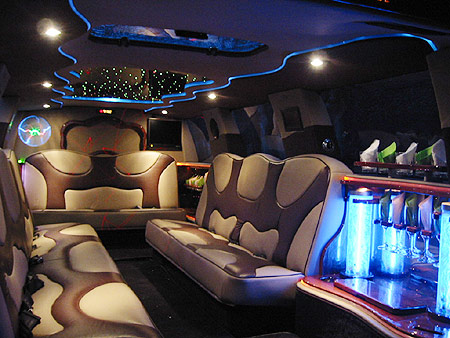 Chauffeur stretched Ford Excursion 4x4 limo hire interior in UK