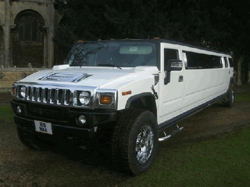 Chauffeur stretch white H2 hummer limo 16 seater in East of England, Peterborough, Huntingdon, Stanford, King's Lynn, Norwich, Great Yarmouth, Lowestoft, Wisbech, Spalding, Cambridge, Cambridgeshire, Bedford, Bedfordshire, Newmarket, Bury St Edmunds, Suffolk, Norfolk, Lincolnshire, Northampton, Northamptonshire, Kettering, Leicester and Sudbury.