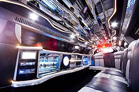 Chauffeur stretched Chrysler C300 Baby Bentley limo hire interior in Glasgow, Edinburgh, Scotland.