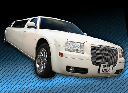 Chauffeur stretched cream Chrysler C300 Baby Bentley limo hire in Birmingham, Dudley, Wolverhampton, Telford, Walsall, Stafford, Worcester.