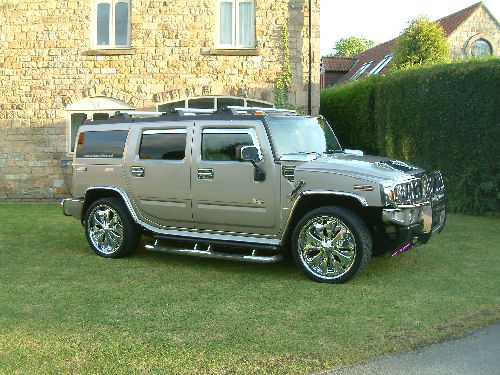 Chauffeur driven chrome Baby Hummer H2 hire in Sheffield, Rotherham, Doncaster, Chesterfield, South Yorkshire