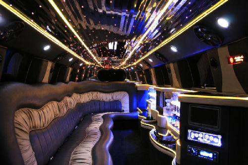 Chauffeur stretched white Hummer limousine hire interior in Carlisle, Workington, Penrith, Barrow-in-Furness, Kendal, Whitehaven, Durham, Cumbria