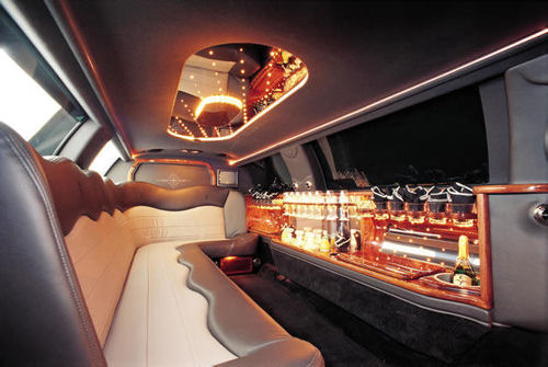 Chauffeur stretched Jeep Expedition limousine hire interior in UK