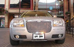 Chauffeur stretch silver Chrysler C300 Baby Bentley limousine hire in Birmingham, Dudley, Wolverhampton, Telford, Walsall, Stafford, Worcester.