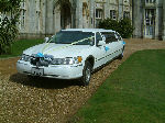 Chauffeur stretched white Lincoln limousine hire in Portsmouth, Southampton, Bournemouth, Brighton, Poole, Hampshire, Sussex, Surrey, South Coast