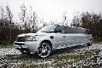 Chauffeur stretch silver Range Rover Sport limo hire in Glasgow, Edinburgh, Scotland